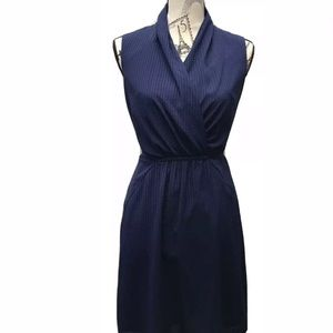 Esprit V-neck Shift Dress Sz 4 Blue Check Print